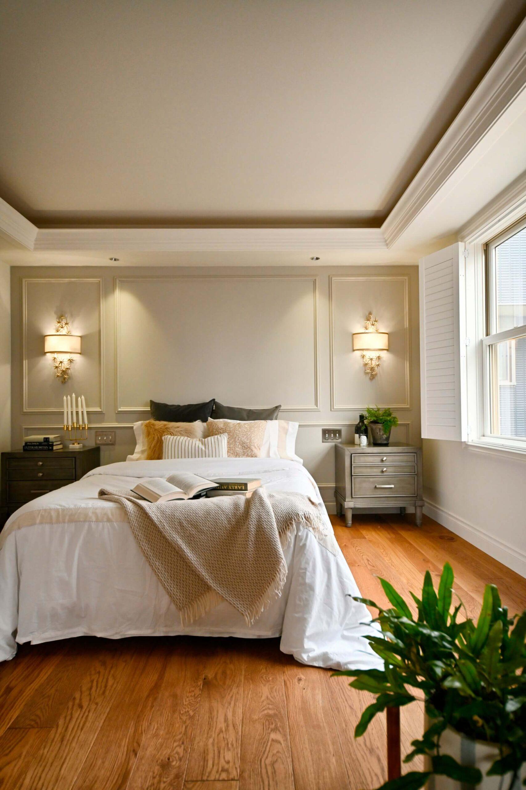 パリスタイルの本格輸入住宅の寝室